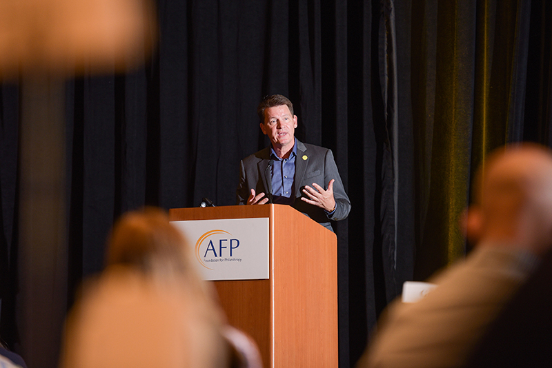 AFP President and CEO Mike Geiger kicks off AFP LEAD by addressing attendees.