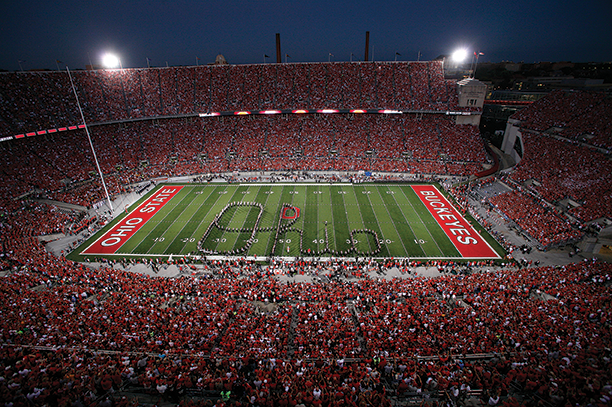 OSU's marching band spells out its true colors.