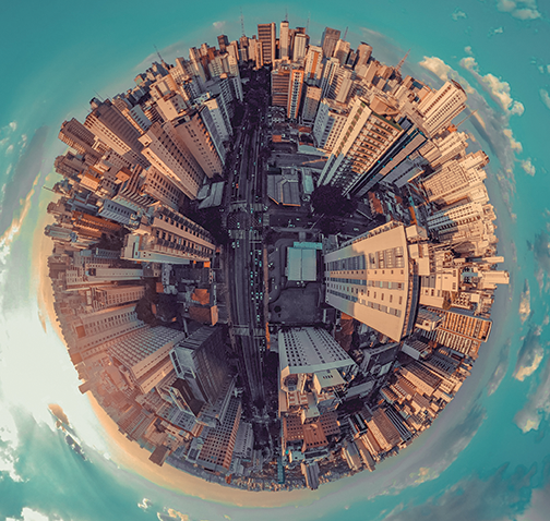 aerial view of a city in a sphere shape