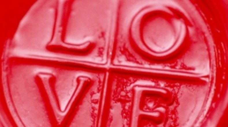 Image of red Love button.