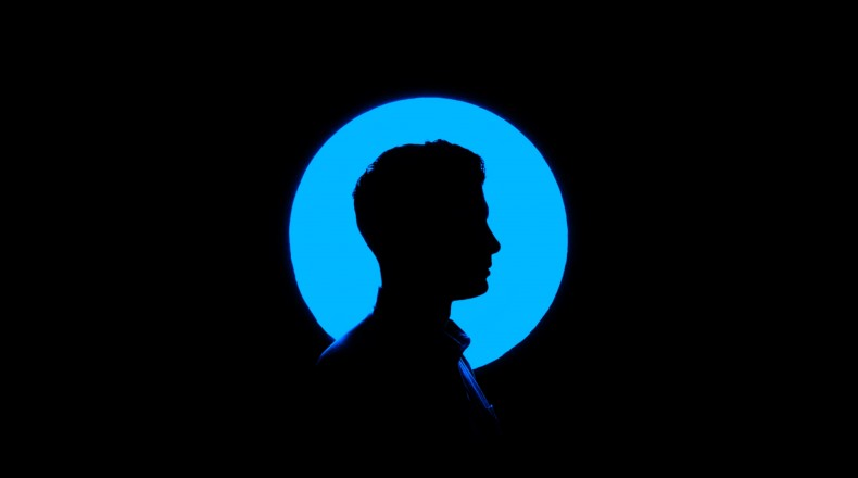 silhouette backlit with blue
