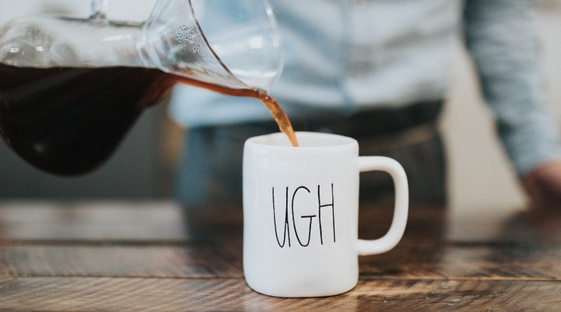 "picture of coffee mug that says ""ugh"""