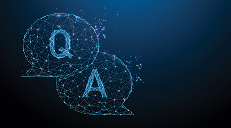the letters q and a in word bubbles on a blue background