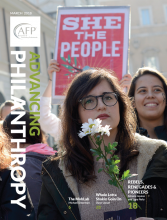 Front cover image of the Advancing Philanthropy Spring 2018 magazine issue