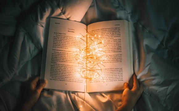book with lights inside
