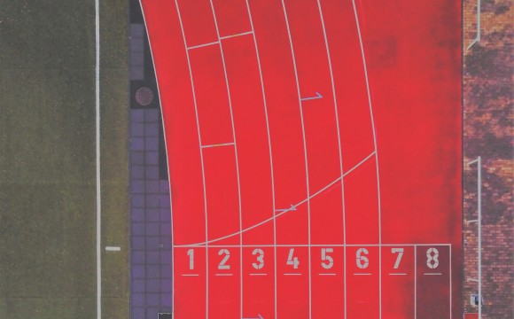 red racetrack with eight lanes