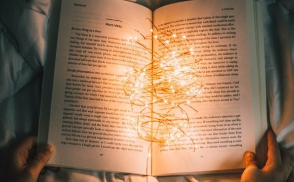 open book with lights