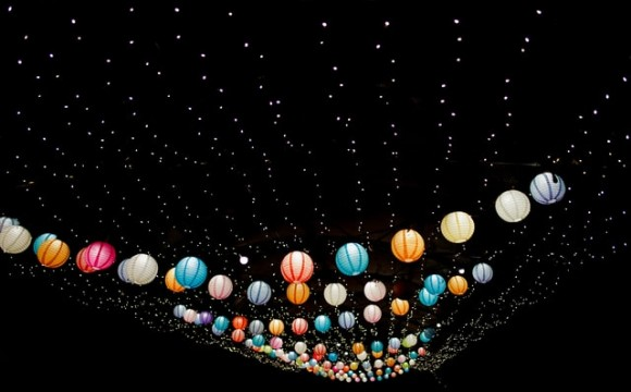 strings of party lanterns